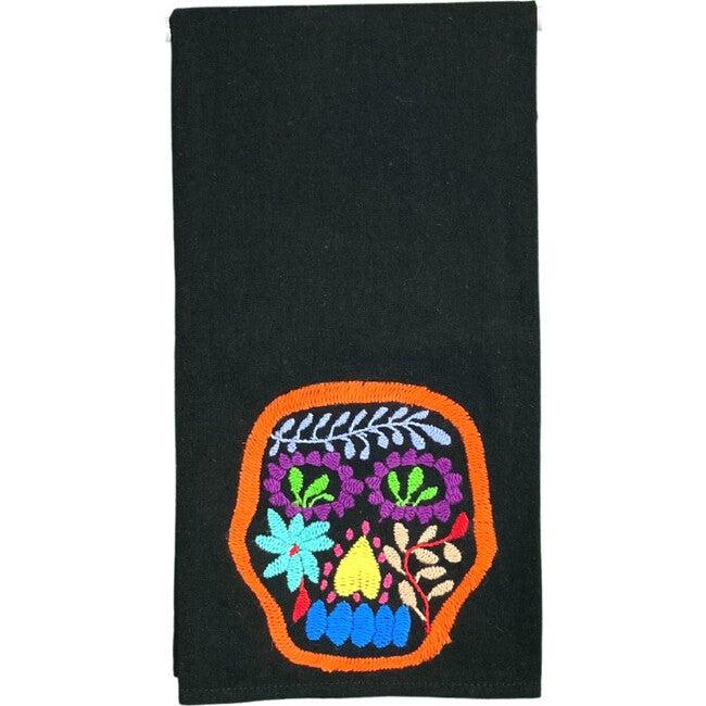 Otomi Skull Tea Towel, Black