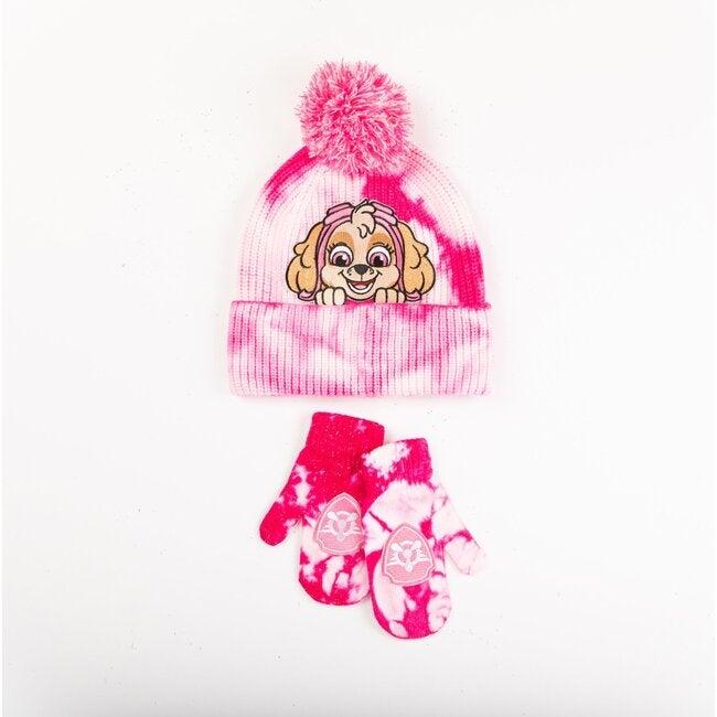Andy & Evan x PAW Patrol Tie Dye Hat & Mittens Set, Pink