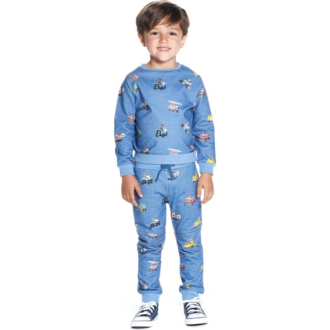 Andy & Evan x PAW Patrol Vehicles All Over Sweat Set, Blue