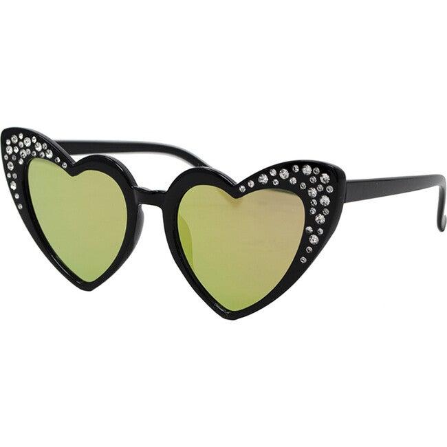 Black Crystal Heart Sunglasses