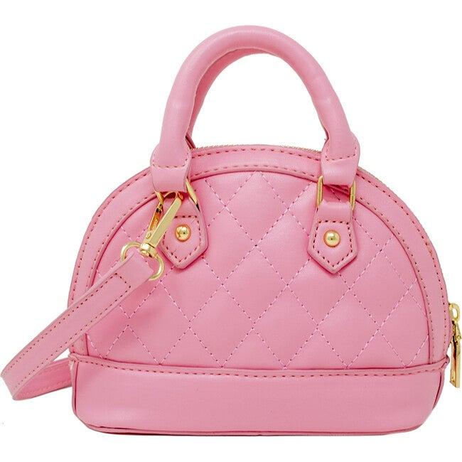 Mini Quilted Moon Handbag, Pink - Bags - 1