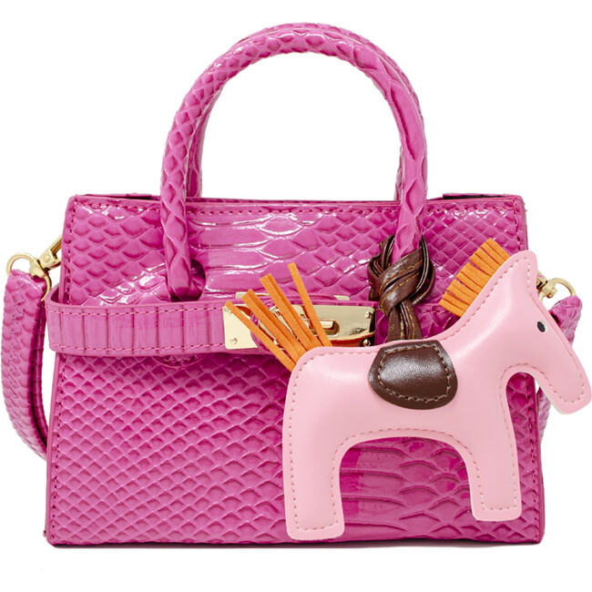 Patent Crocodile Pony Handbag, Hot Pink - Bags - 1