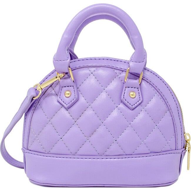 Mini Quilted Moon Handbag, Lavender - Bags - 1