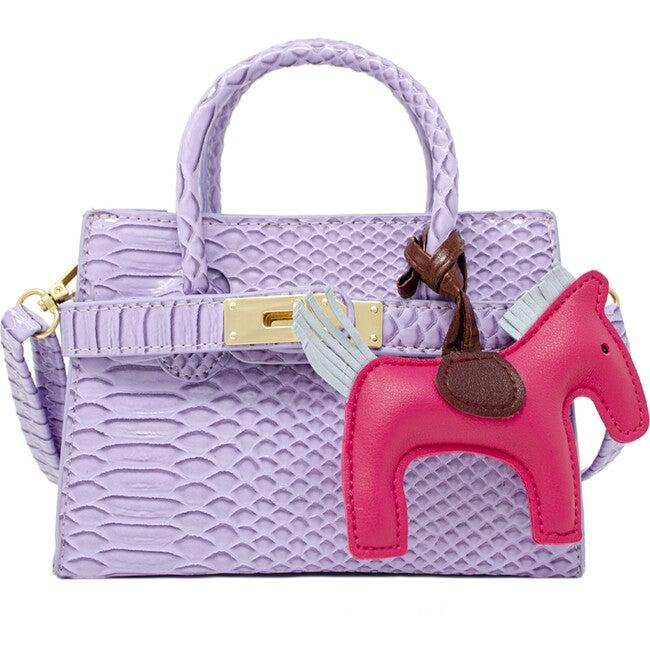 Patent Crocodile Pony Handbag, Lavender - Bags - 1