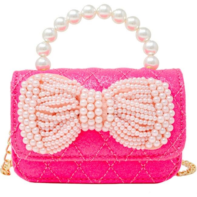 Pearl Handle Bow Handbag, Hot Pink