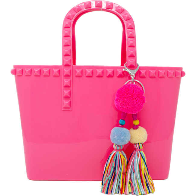 Tiny Jelly Tote Bag, Hot Pink - Bags - 1