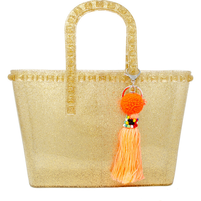 Tiny Jelly Tote Bag, Gold - Bags - 1