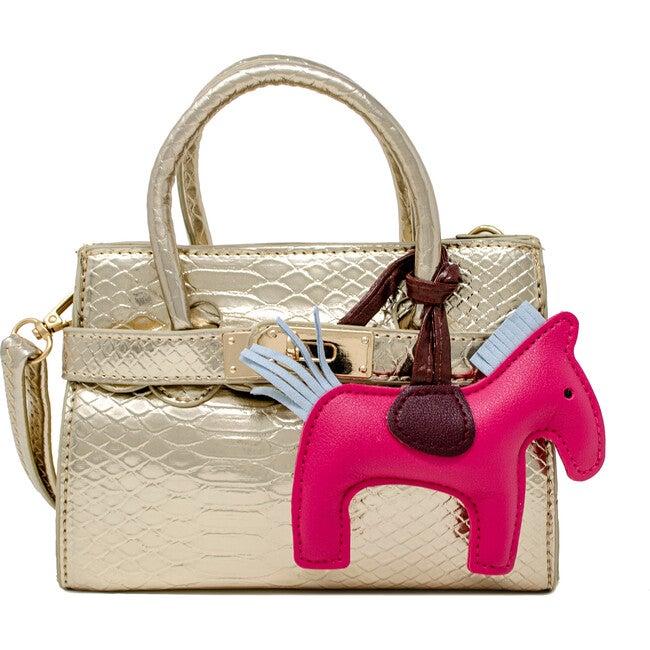 Shiny Crocodile Pony Handbag, Champagne