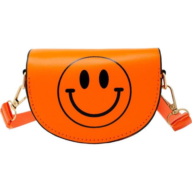 Mini Neon Happy Face Shoulder/Belt Bag, Orange - Bags - 1