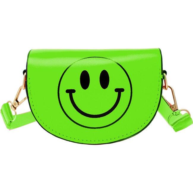 Mini Neon Happy Face Shoulder/Belt Bag, Green - Bags - 1