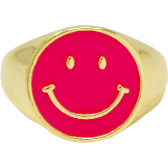 Happy Face Ring, Hot Pink