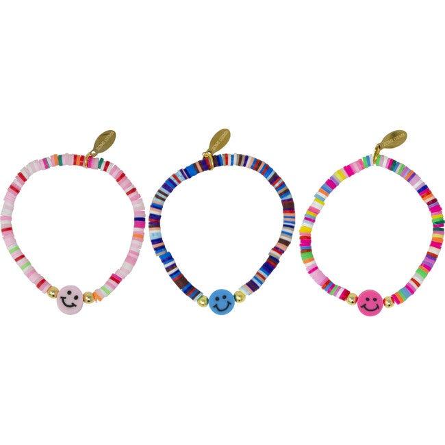 Happy Face Disk Bead Bracelet Set