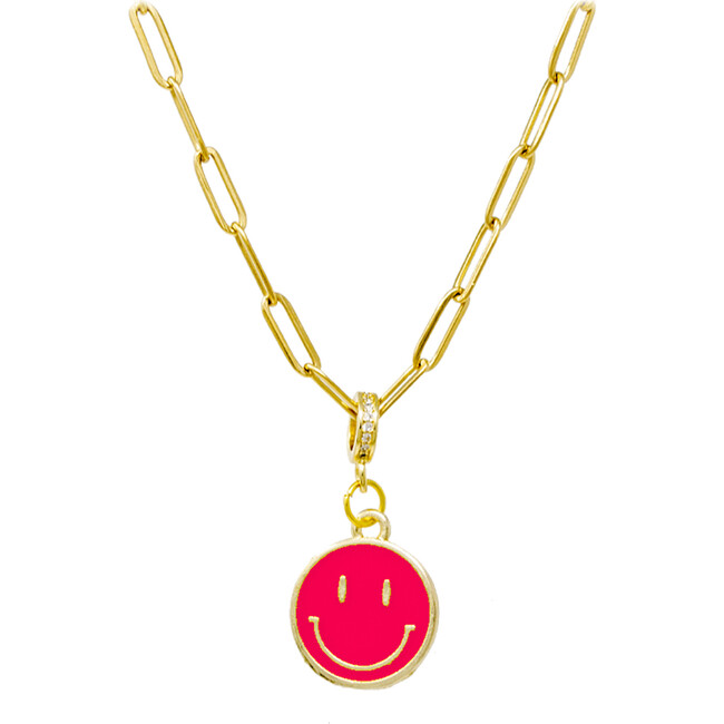 Happy Face Necklace, Hot Pink