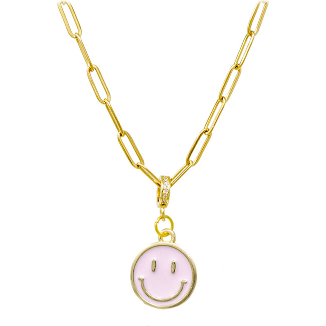 Happy Face Necklace, Pink