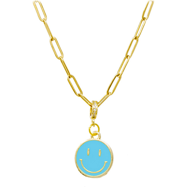 Happy Face Necklace, Teal