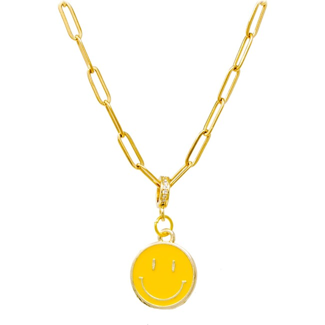 Happy Face Necklace, Yellow