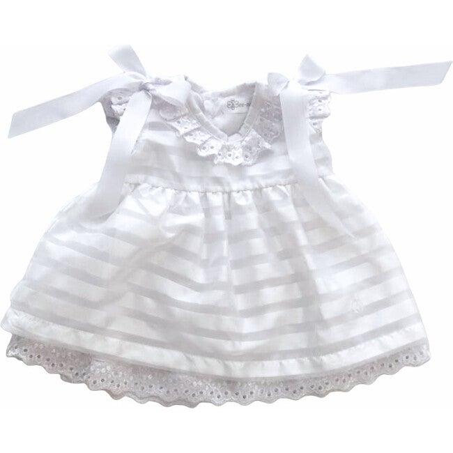 Striped Organza Dress, White