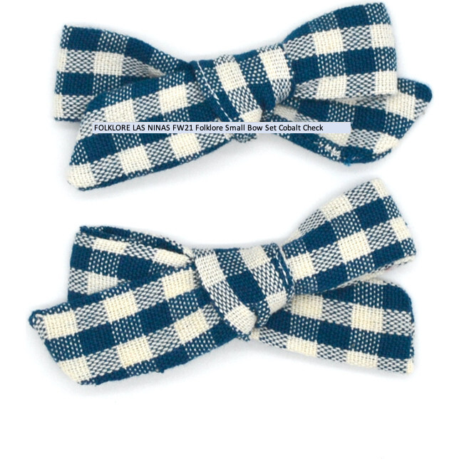 Folklore Small Bow Set Cobalt Check