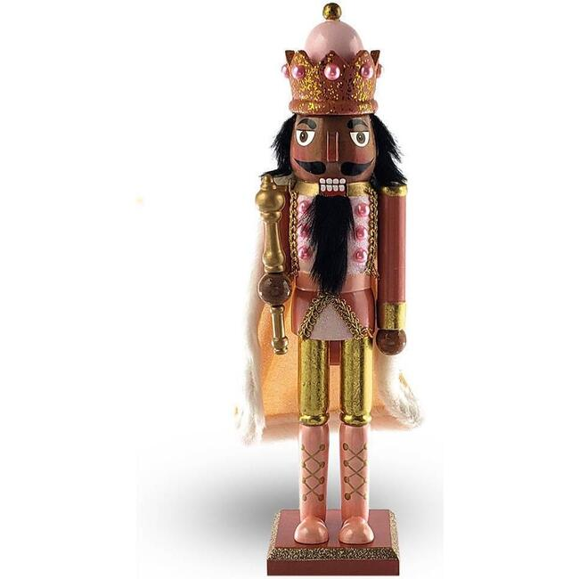 African American Christmas Decoration Nutcracker King, Rose Gold