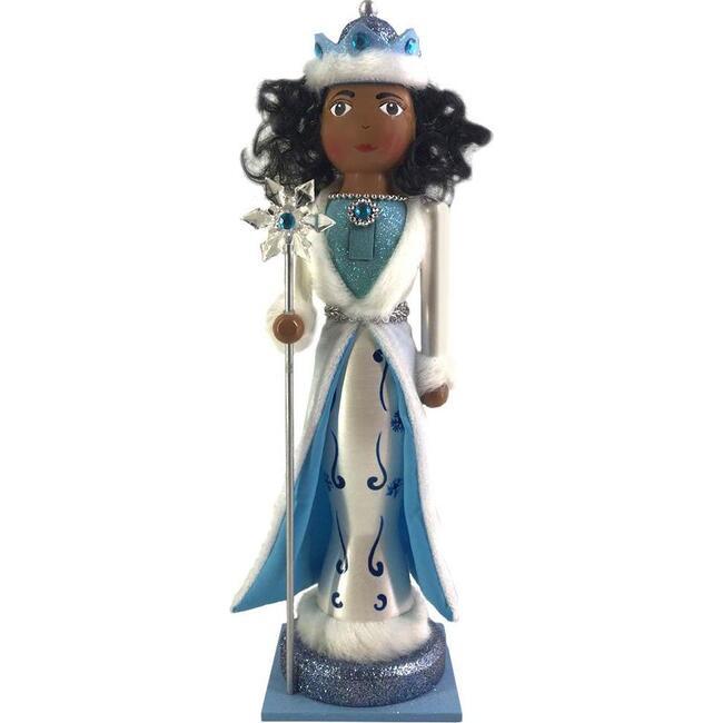 Fancy African American Nutcracker Snow Queen, Blue/White - Nutcrackers - 1