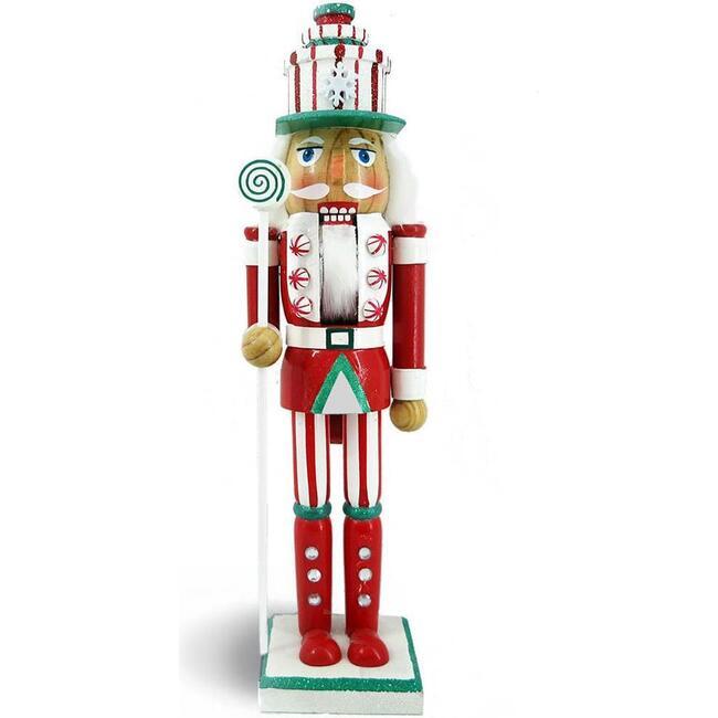 Candy Cane Nutcracker, Red/Green Glitter - Nutcrackers - 1