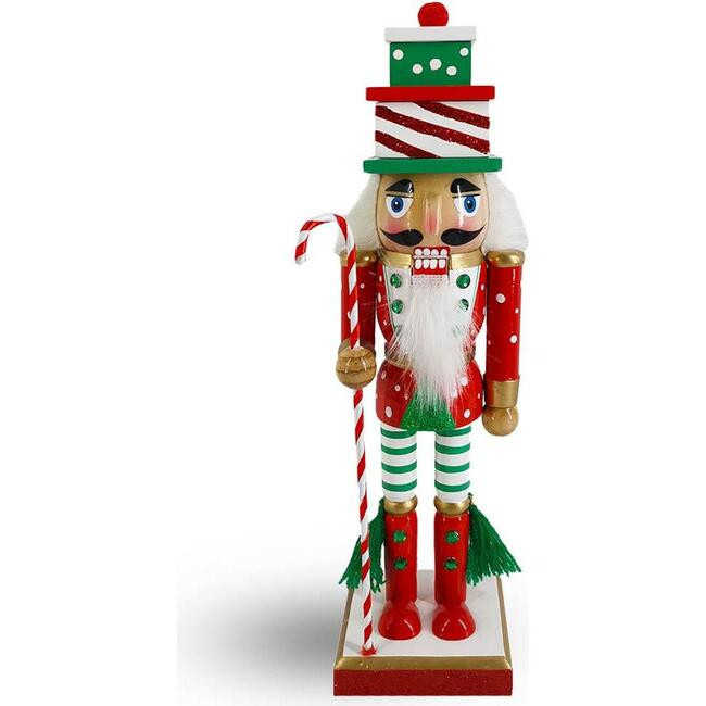 Candy Cane Christmas Nutcracker in Red, Green/ White