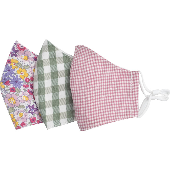 Floral Check Mask Bundle, Pink & Green