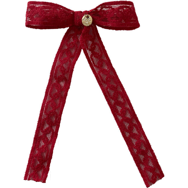 Isla Lace Knit Long Tail Clip, Red