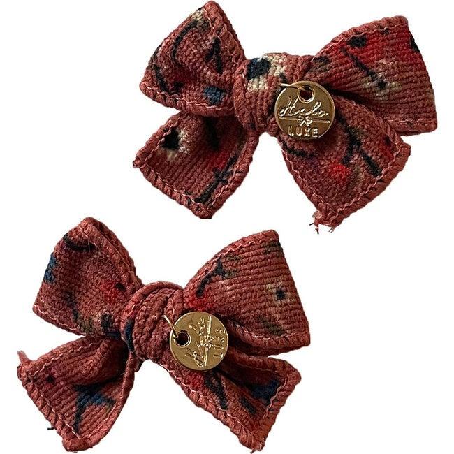 Elsie Printed Corduroy Double Bow Clip, Mauve Floral