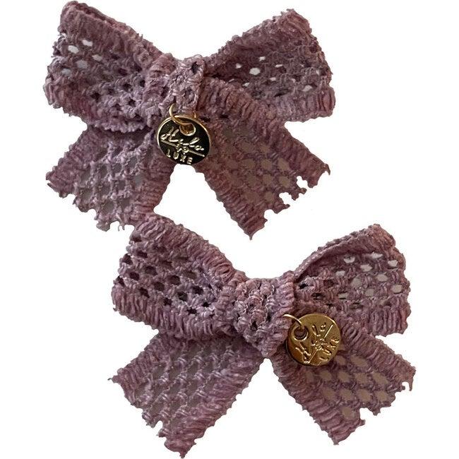 Della Chenille Lace Double Bow Clip, Lavender