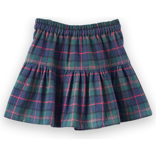 Tiered Skirt, Green Plaid