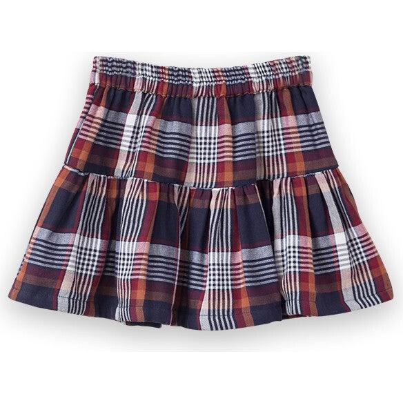 Tiered Skirt, Brown Plaid