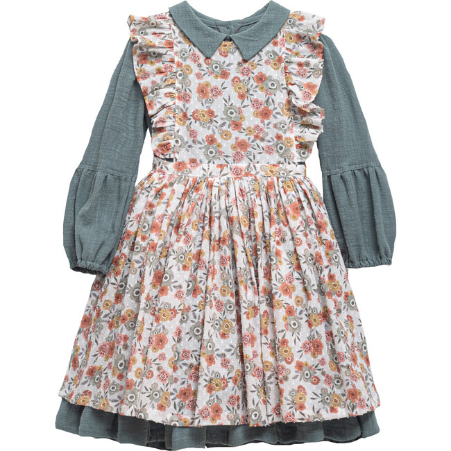 Philippa Dress, Blue & Floral Print
