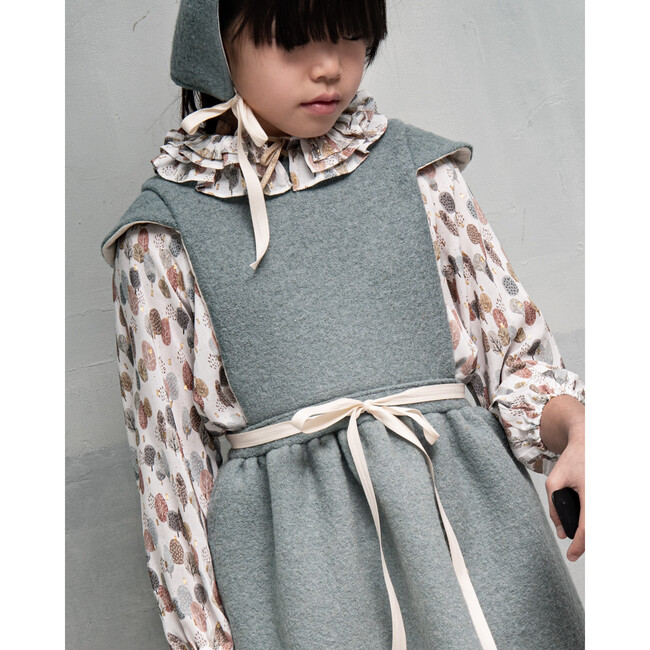 Helga Pinafore Dress, Boiled Wool & Aqua
