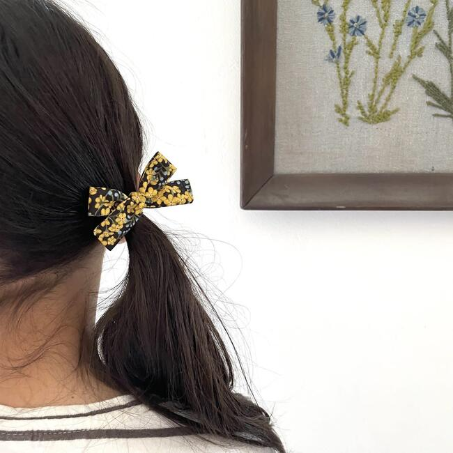 Skinny Ribbon Pigtail Bows, Liberty Star Anise