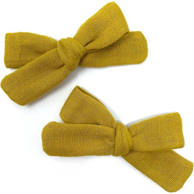Skinny Ribbon Pigtail Bows, Mustard Double Gauze