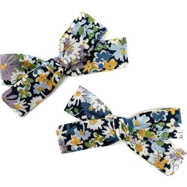 Skinny Ribbon Pigtail Bows, Liberty Blue Daisies