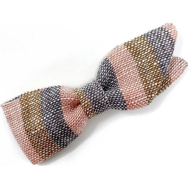 Petal Bow Clip, Linen Stripe