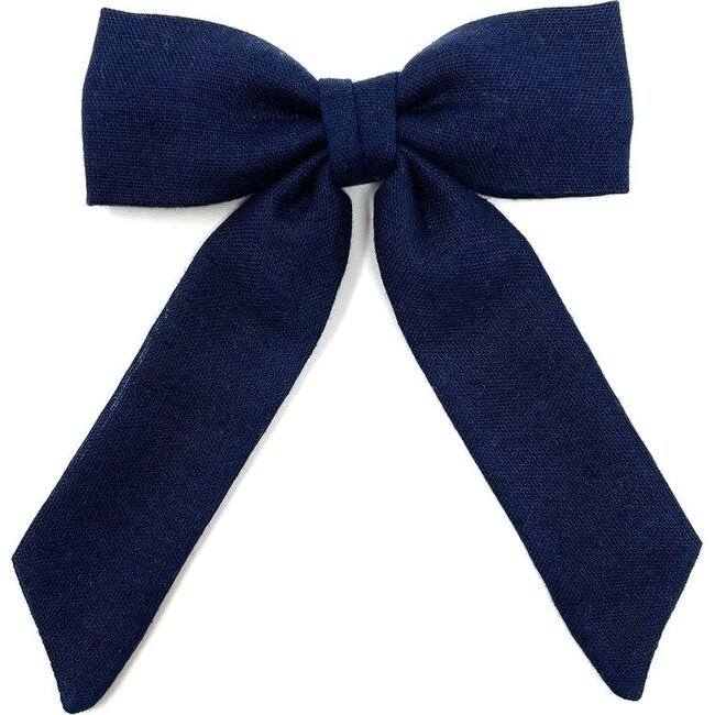 Classic Bow Clip, Navy Double Gauze