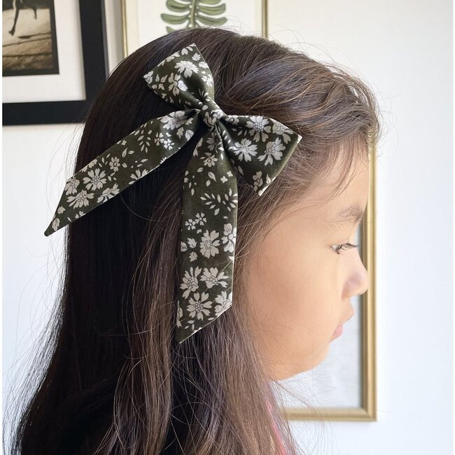 Classic Bow Clip, Liberty Olive Floral