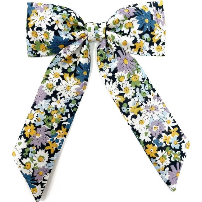 Classic Bow Clip, Liberty Blue Daisies