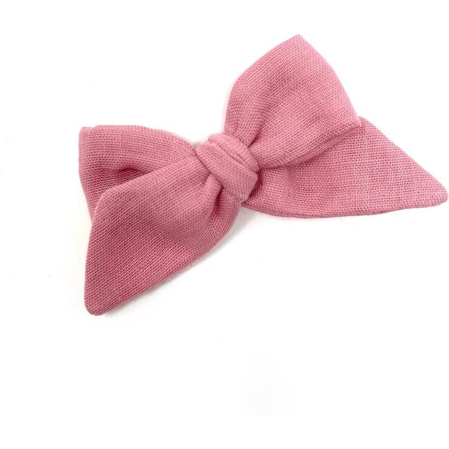 Baby Tied Bow Clip, Rose Double Gauze