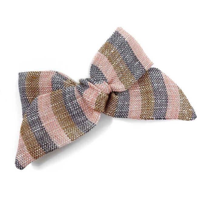 Baby Tied Bow Clip, Linen Stripe