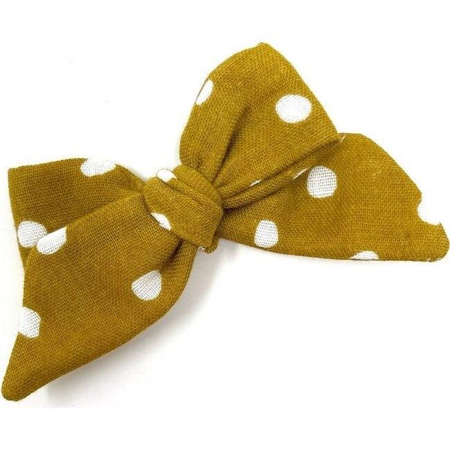 Baby Tied Bow Clip, Mustard Dot Gauze