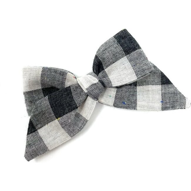 Baby Tied Bow Clip, Black Flecked Check - Hair Accessories - 1