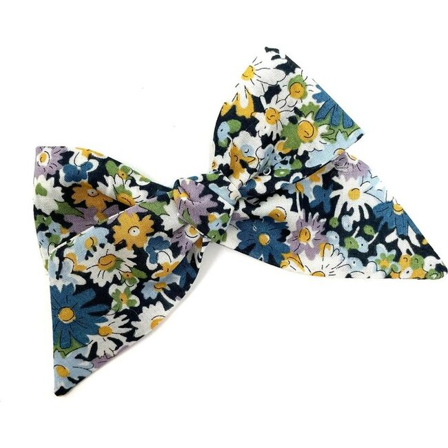 Baby Tied Bow Clip, Liberty Blue Daisies