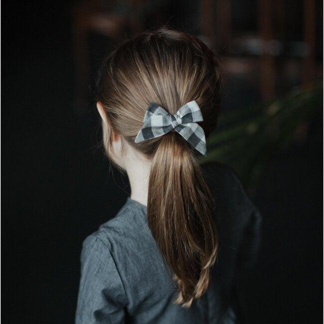 Baby Tied Bow Clip, Black Flecked Check