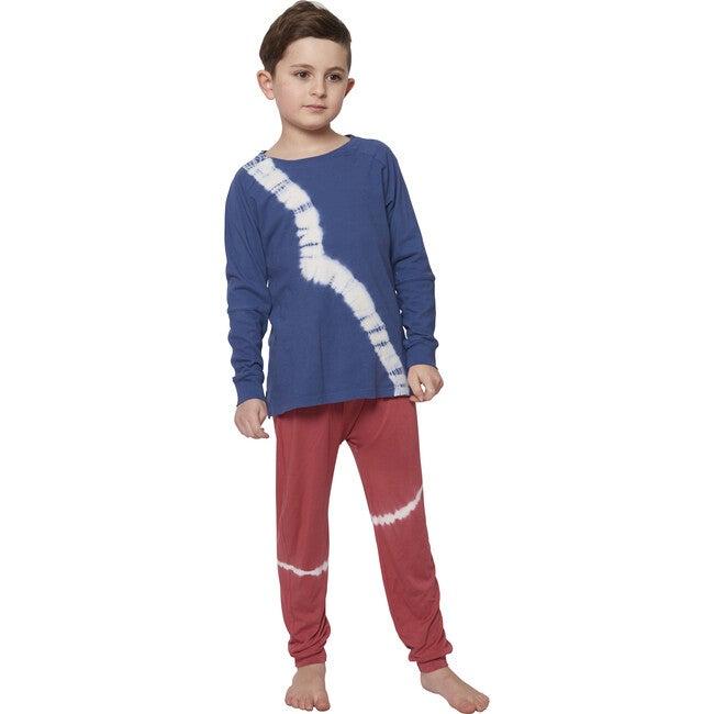 Tie Dye Bamboo Trouser Sweatpants, Cranberry