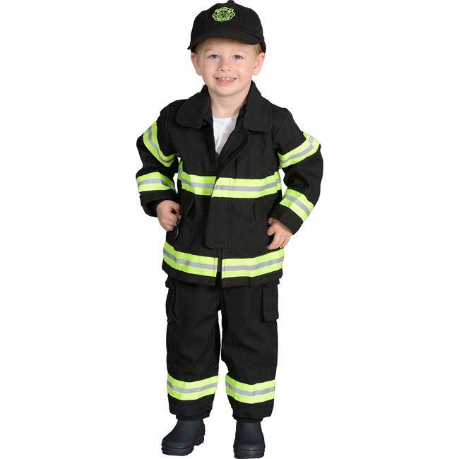 Jr. Firefighter Suit with Embroidered Cap, Black