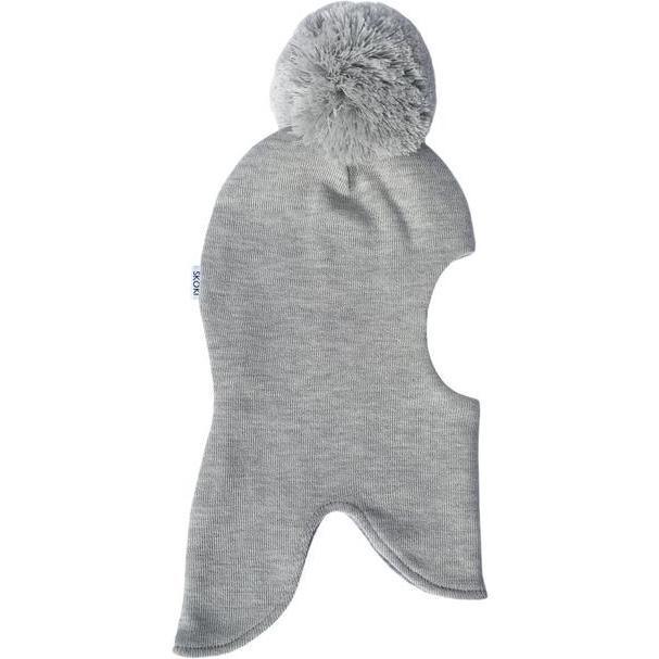 Knit Balaclava with Pom, Cool Grey